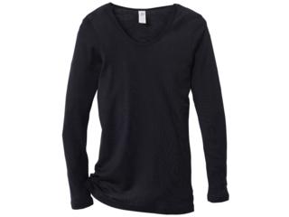 Damen Unterhemd Langarm schwarz