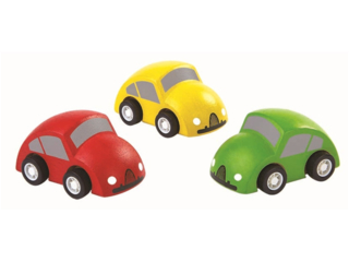 Autos, 3er Set aus Kautschukholz