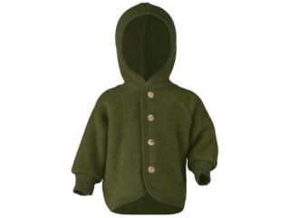 Baby Jacke mit Kapuze, Bio-Merinowolle (kbT) Fleece, melange-schilf