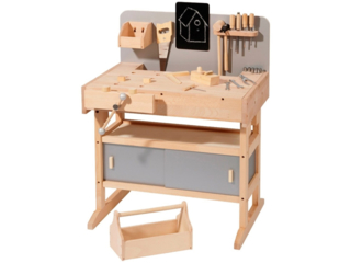 Kinder-Werkbank aus Holz mit 32-teiliger Werkzeugkiste