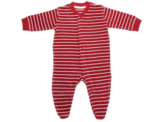 Baby und Kinder Frottee-Schlafanzug rot-weiß gestreift
