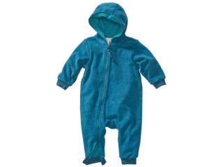 Baby Overall zum Wenden mit Kapuze Fleece tiefblau-grün
