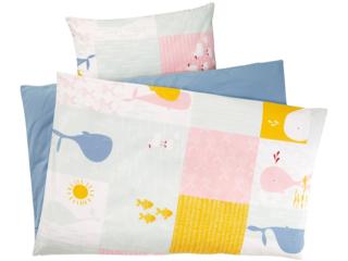 Kinderbettwäsche Bio-Baumwolle Patchwork Wal