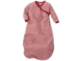 Baby Schlafsack Wickelsack Wolle Seide rot-geringelt