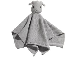 """Baby Schnuffeltuch mit Rassel Strick Bio-Baumwolle """"Emma"""" grau"""