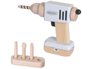 Kinder Bohrmaschine mit 4 Bits und Akku aus Holz