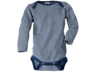 Baby Body Langarm Wolle Seide blau-geringelt
