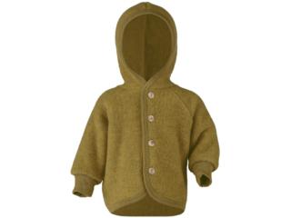 Baby Jacke mit Kapuze, Bio-Merinowolle (kbT) Fleece, melange-safran