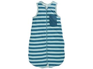 Schlafsack Baby Bio-Baumwolle Jersey ohne Arm Streifen blau