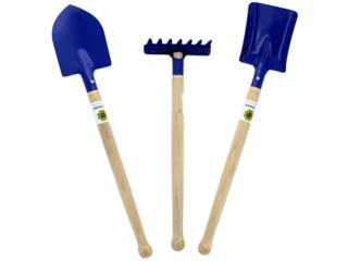 Sandspielzeug Metall und Holz, Harke, Schaufel, Spaten 3-teilig blau