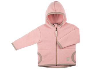 Baby und Kinder Jacke mit Kapuze Bio-Merino-Wollfleece rose