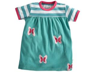 Kinder Kleid Kurzarm Bio-Baumwolle Schmetterling pink