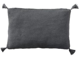 Kissenbezug 40x60 cm Bio-Baumwolle Grob-Strick stone darkgrey-melange