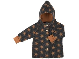 Kinder Mantel mit Kapuze Wollwalk anthra Sterne