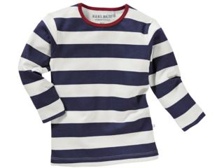 Kinder Unterhemd Langarm Bio-Baumwolle Blockstreifen Blau