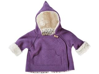 Baby und Kinder Jacke Bio Schurwoll-Walk mit Teddyfutter lila