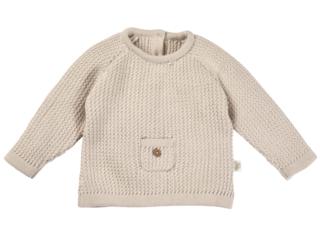 Baby Pullover mit Tasche Strick Qualität Bio-Baumwolle beige melange