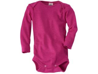 Baby Body Langarm Wolle Seide pink