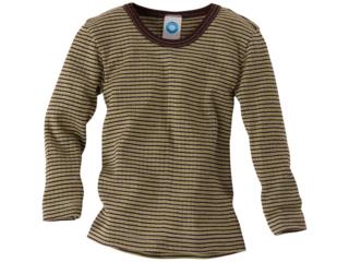 Kinder Hemd Langarm Baumwolle-Wolle-Seide grün-braun-geringelt