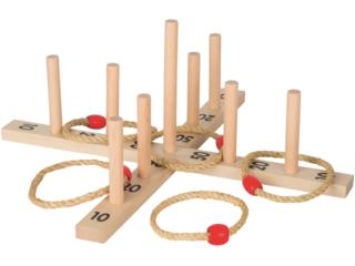 Ringwurfspiel Outdoor Spielzeug aus Holz im Baumwollbeutel, 15-teilig