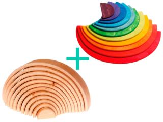 Aktion Regenbogen natur und Halbkreise bunt aus Lindenholz