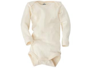 Baby Body Langarm Baumwolle-Wolle-Seide natur