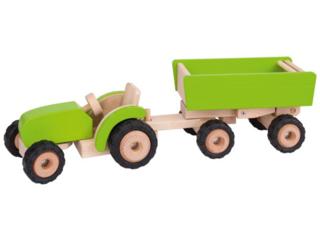 Großer Traktor mit Anhänger aus Massivholz
