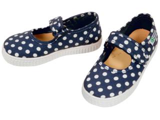 Kinder Schuhe Ballerinas mit Klettverschluss navy Pünktchen