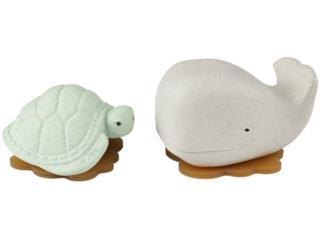 Badewannenspielzeug Wal Schildkröte Naturkautschuk white mint