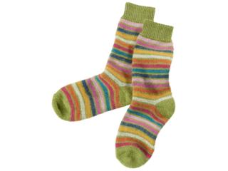 Kinder Socken Schurwolle Rainbow maigrün