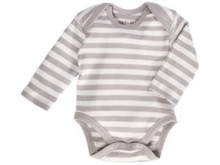 Baby Langarmbody Bio-Baumwolle grau-off white