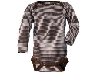 Baby Body Langarm Wolle und Seide braun-geringelt