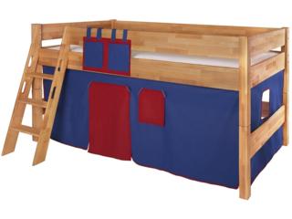 Spielvorhang für Spiel- und Hochbett, 3-teilig, rot-dunkelblau