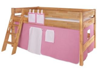 Spielvorhang für Spiel- und Hochbett, 3-teilig, rosa-weiß