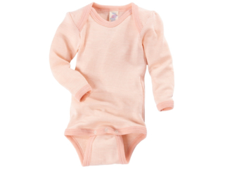 Baby Body Langarm lachs-geringelt