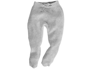 Baby Hose mit Füßchen Bio-Baumwolle Strick hellgrau melange
