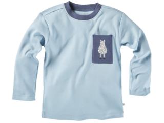 Kinder Langarmshirt Bio-Baumwolle Zebra blau