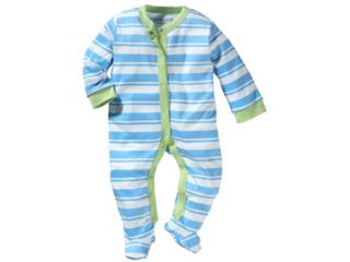 Baby Schlafanzug Bio-Baumwolle weiß-türkis