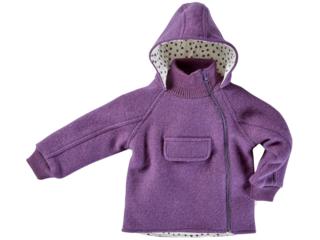 Kinder Jacke mit Kapuze Bio Schurwoll-Walk lila