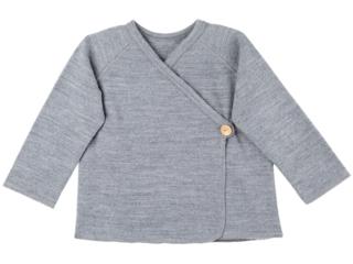 Baby Shirt zum Wickeln Bio-Merinowolle (kbT) grau