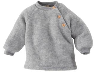 Baby Pullover 100% Bio Schurwollfleece (kbT) melange-hellgrau