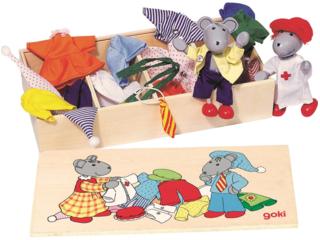 """Biegepuppen """"Mausens"""" aus Holz mit Holzkiste und 8 Kleidung-Sets"""