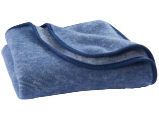 Babydecke Wolle-Baumwolle Fleece marine