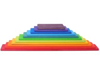 Regenbogen Bauplatten 11-teilig aus Lindenholz, bunt lasiert
