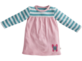 Kinder Kleid Langarm Bio-Baumwolle rosa