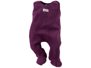 Baby Strampler mit Fuß Wollplüsch beere