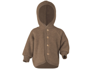 Baby Jacke mit Kapuze, Bio-Merinowolle (kbT) Fleece, melange-walnuss