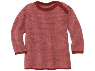 Baby und Kinder Pullover Bio-Merinowolle (kbT) melange-bordeaux-rosé
