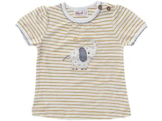 Baby und Kinder T-Shirt senfgelb-geringelt
