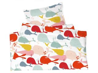 Kinderbettwäsche Bio-Baumwolle Wale